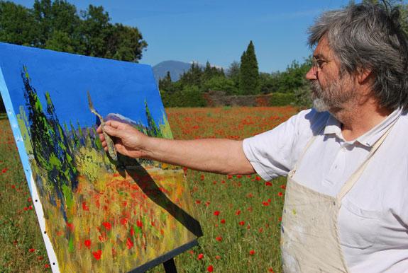 Turquin peintre en provence mont ventoux coquelicots